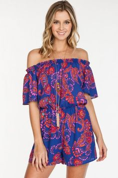 This fun romper will have you so chic! The gorgeous paisley print, vibrant colors, & flowy fit create a boho feel we just can't resist! You will fall in love with this beauty! If in-between sizes, siz
