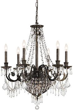 Biltmore Iron & Crystal 6 Arm Chandelier With English Bronze Finish | House of Antique Hardware