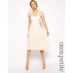 ASOS PETITE Scalloped Lace Midi Dress (115 AUD) ❤ liked on Polyvore featuring dresses, nude, white sweetheart dress, lace midi dress, asos dresses, white dress and tall dresses