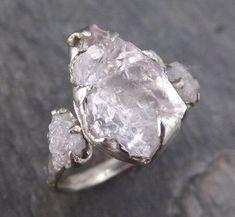 Raw Morganite Diamond White Gold Engagement Ring Wedding Ring Custom One Of a Kind Gemstone Conflict Free Three stone Ring byAngeline 0127