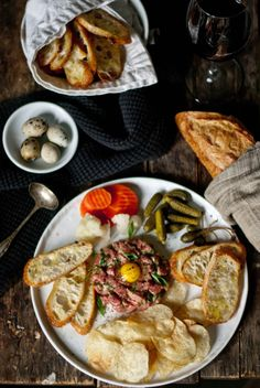 """Quail egg, warm kettle chips, toasty Crostini, cornichons and other """"pickled things"""", caper berries. Breakfast And Brunch, Steak Tartare, Man Food, Snacks, Dessert, Appetizer Recipes, Appetizers, So Little Time, Kettle Chips"""