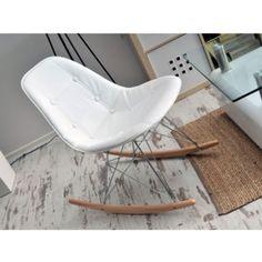 Čalouněná houpací židle MOBI Bílá