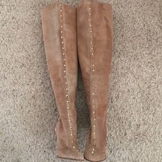 "️Host PickValentino Boots Authentic Rockstud over-the-knee boots. Nude suede. Heel is 3 3/4"" high. Shaft is 18 1/2"" tall from ankle. Calf circumference is 13 1/2"" at widest point. New in box. Never worn. Slight fading might just be the suede. No dustbag. Valentino Shoes"
