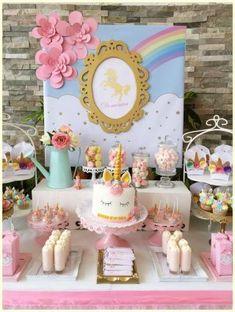 """Unicorns / Birthday """"Domenica's Unicorn birthday party"""" - Unicorn Themed Birthday Party, 5th Birthday Party Ideas, First Birthday Parties, Birthday Party Decorations, Girl Birthday, Girl Theme Party, Ideas Party, Birthday Banners, 1st Birthdays"""