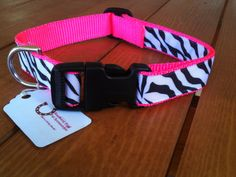 Medium Hot Pink and Zebra Dog Collar by SouthernWag