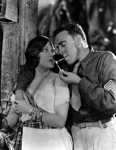 "Gloria Swanson and Raoul Walsh in ""Sadie Thompson"" (1928). Walsh also directed. Swanson produced the film with financial backing from Joe Kennedy Sr., with whom she also was having an affair. I thought it was a good film, although I thought Lionel Barrymore as the moralist who hounds Sadie chewed the scenery a bit. I knew Walsh as a director, but never saw him act; he was excellent. However, he lost his eye in a car accident a year later and became strictly a director after that."