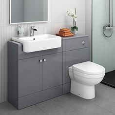 Looking for a great choice of combined vanity units? Harper gloss white & grey units come with toilets and sinks included! Toilet Vanity Unit, Toilet And Sink Unit, Bathroom Sink Units, Sink Vanity Unit, Wc Bathroom, Toilet Sink, White Vanity Bathroom, Bathroom Toilets, Grey Bathrooms
