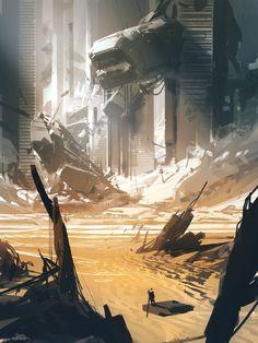 """En Route To The Final Frontier"": The Best Of The Superb Sci-Fi Digital Artworks By Nicolas Bouvier Fantasy Art Landscapes, Fantasy Landscape, Landscape Art, Sci Fi Fantasy, Fantasy World, Post Apocalyptic Art, Alien Worlds, Matte Painting, Science Fiction Art"