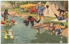vintage Summer postcards | Vintage Cats Summer Picnic Postcard, Alfred Mainzer Company, 1940s ...