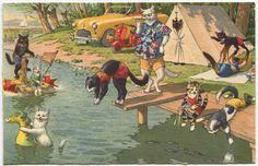 vintage Summer postcards | Vintage Cats Summer Picnic Postcard, Alfred Mainzer Company, 1940s ...