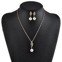 DressLily - Dresslily Artificial Pearl Rhinestone Necklace with Earrings - AdoreWe.com