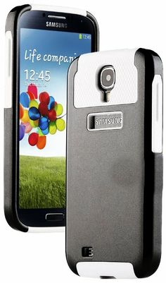 """Amazon.com: myLife (TM) Black and White - Classy Design (2 Piece Hybrid Bumper) Hard and Soft Case for the Samsung Galaxy S4 """"Fits Models: I..."""
