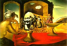 Slave Market with the Disappearing Bust of Voltaire (1940) - Is a painting by Spanish Surrealist Salvador Dalí. The painting depicts a slave market, while a woman at a booth watches some people. A variety of people seem to make up the face of Voltaire, while the face seems to be positioned on an object to form a bust.