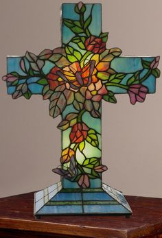 Tiffany-Style Vines Blooming Stained Glass Cross Accent Lamp Multi-Color NEW #StainedGlass