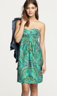 J CREW $198 Jade Green Silk Floral Paisley Casbah Strapless Dress 12 L #JCrew #Mini #Casual