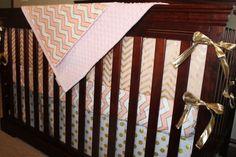 Glitz White Gold Dot Straight Crib Skirt by DesignsbyChristyS Baby Girl Crib Bedding, Boppy Cover, Crib Skirts, My Little Baby, Gold Dots, Pink And Gold, White Gold, Cribs, Chevron