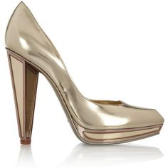Yves Saint Laurent Mirrored-heel metallic leather pumps ($1,050) ❤ liked on Polyvore