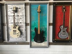 Guitar Display Wall, Guitar Wall, Guitar Room, Rental Decorating, Decorating Tips, Guitar Storage, Displaying Collections, Shadow Box, Craft Projects