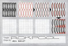 Rokpool - zentangle pattern by Neil Burley Tangle Doodle, Doodles Zentangles, Zen Doodle, Doodle Art, Doodle Patterns, Zentangle Patterns, Easy Zentangle, Looney Tunes Bugs Bunny, Illustrations