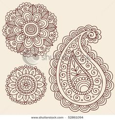 Stock Vector Hand Drawn Henna Mehndi Tattoo Flowers And Paisley Doodle
