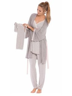 This sweet 4 piece set is everything you and baby need to be comfy and cute! Nursing pajamas with slip-down nursing access, robe with belt and matching outfit f