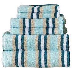 Superior Stripes 6 Piece Towel Set in Seafoam