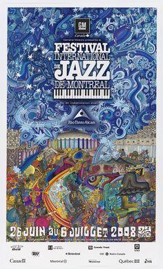 Affiche du Festival international de Jazz de Montreal 2008. Création : Yves Archambault