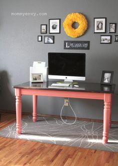 Make a Bold Statement: Coral Table Desk | mommyenvy.com