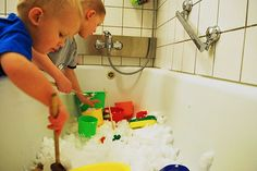 What a creative idea for moms...preschools usually do this with their sensory tables, but save the trouble of bundling up and frozen fingers...bring the snow inside and fill your bathtub! Your children stay warm play, and clean up is just a simple rinse and drain! :0)