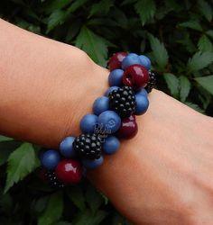 Summer berry charm bracelet  Fruit jewelry  Miniature Food