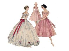 1950s Evening Dress Pattern Full Skirt Overskirt Formal or Cocktail Length Simplicity 1770 Bust 36 Vintage Sewing Pattern