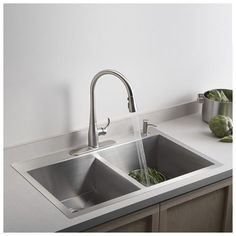 "Vault 33"" x 22"" x 9-5/16"" Top-Mount/Under-Mount Large/Medium Double-Bowl Kitchen Sink with Single Faucet Hole"