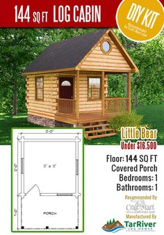 Highly affordable small and tiny log cabin kits that you can assemble yourself in days! Many choices from a number of manufacturers. Small Cabin Plans, Cabin House Plans, Cabin Floor Plans, Tiny House Cabin, Small House Plans, Barn Plans, Tiny Log Cabins, Log Cabin Homes, Mountain Cabins
