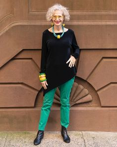 Aysymmetrical tunic top, pants and booties | For more style inspiration visit 40plusstyle.com