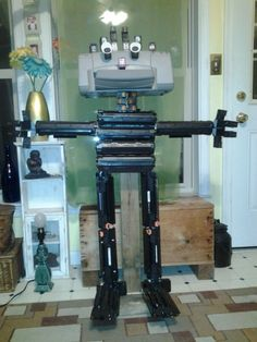 Check out Inkbot! He was created completely from used ink cartridges and an old printer. Inkbot reminds us to recycle our used ink cartridges!