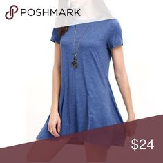 "⚡️FLASH⚡️BLUE Cut Out Neck Tee Shirt DRESS T-Shirt BRAND NEW!! Cute, comfy, & trendy Heather blue t-shirt dress with cut out neck detail. Easy, effortless great with flats or sandals.   * Measurements (M) (approx.): * Bust: 36.2"" * Length: 34""  🌟🌟Item is Brand New, direct from the Manufacturer, & Sealed in Pkg. 🌟🌟 Dresses"