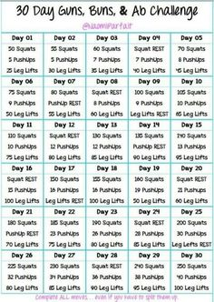 30 day guns, buns, and abs challenge!