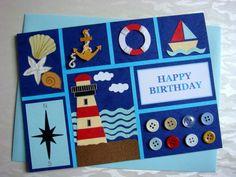Lin Handmade Greetings Card: Marine theme....
