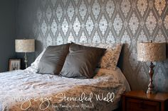 BasePaint- Behr Anonymous, Stencil Paint- Martha Stewart Metallic Paint in Polished Silver (comes in a small pot, $5)