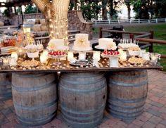 Whiskey Barrel Wedding Table/Buffet/Bar