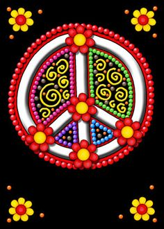 Peace Sign - Gypsy Style - Red and Yellow Flowers - Jelly's Smile Cards