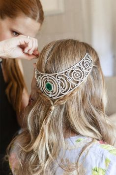 The same Ansorena tiara, worn on the back of the head, getting in touch with her inner Galadriel and Arwen.