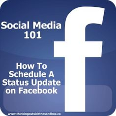 How to schedule a Facebook status update. This was so easy. Now I'm going to be confusing everyone! LOL