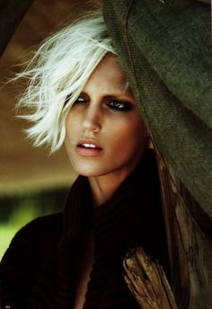 Anja Rubik with platinum hair