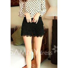 $9.11 New Style Elastic Waist Lace Embellished Black Lace Shorts For Women