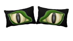 Our Monster Eye collection, including our left eye-right eye throw pillow for adding an Eerie effect to beds, couches and chairs.