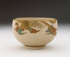 Satsuma bowl with phoenix in clouds