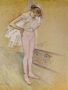 Dancer Adjusting Her Tights - Henri de Toulouse-Lautrec , 1890 ( Probably at the Moulin Rouge) Henri De Toulouse Lautrec, Renoir, Life Drawing, Painting & Drawing, Pastel Drawing, Kunst Online, Manet, Guache, Edgar Degas