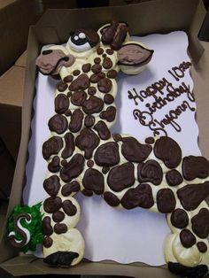 GIRAFFE CUPCAKE CAKE- So adorable!