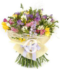99 frezii multicolore Bouquets, Floral Wreath, Wreaths, Home Decor, Flowers, Tricot, Floral Crown, Decoration Home, Bouquet